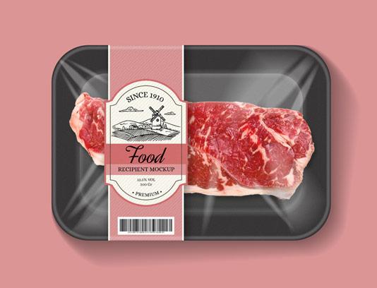 طرح لایه باز موکاپ بسته بندی گوشت و مواد غذایی