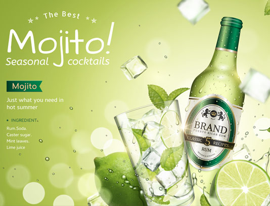 وکتور طرح پوستر تبلیغاتی نوشیدنی موهیتو