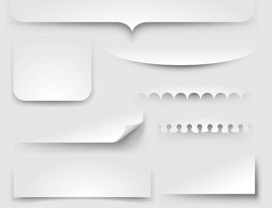 وکتور المان های کاغذی مختلف با سایه بکگراند