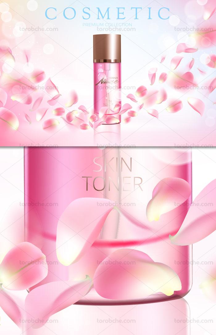 وکتور لایه باز طرح تبلیغاتی تونر پوست با رایحه گل رز