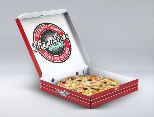 طرح لایه باز موکاپ جعبه بسته بندی پیتزا