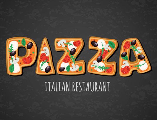 وکتور طرح تایپوگرافی پیتزا برای استفاده در لوگو