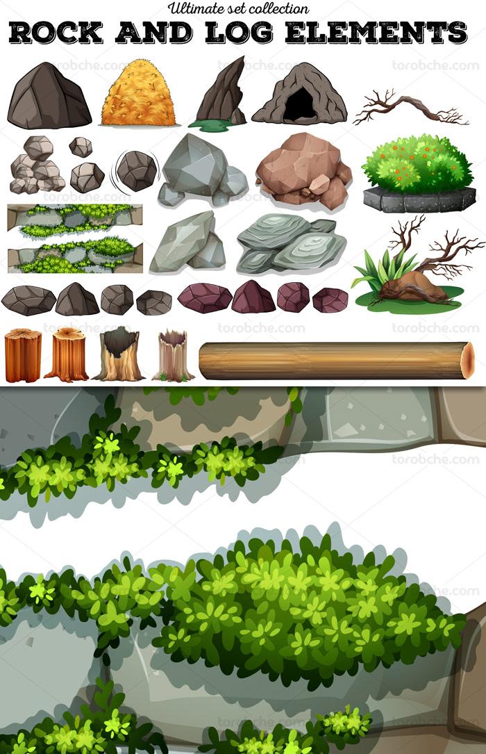 وکتور طرح المان های بازی طبیعت، سنگ و سخره، درخت