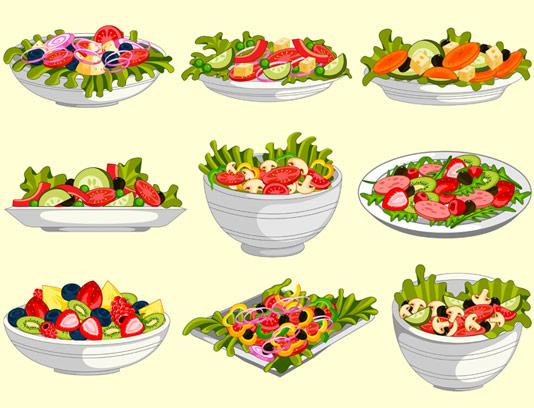 وکتور انواع سالادهای سبزیجات و میوه