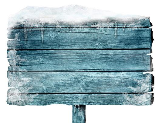 عکس با کیفیت تابلوی چوبی پوشیده شده با برف