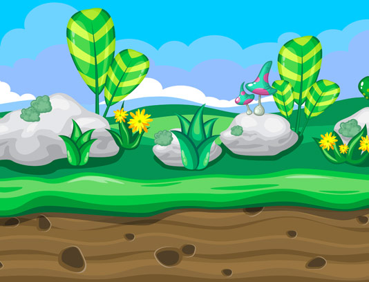 وکتور المان بکگراند طبیعت سبز و دوبعدی ویژه بازی سازی