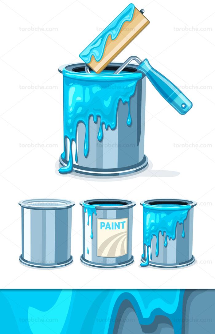 وکتور طرح سطل رنگ آبی