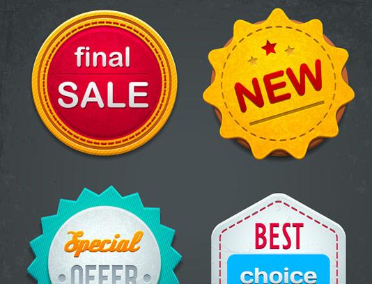 وکتور لیبل های خلاقانه فروش محصولات