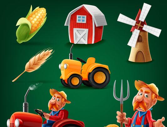 وکتور مجموعه آیکون های کشاورزی و مزرعه داری