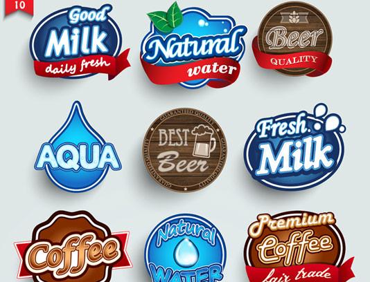 وکتور طرح مجموعه لوگو المان های غذا و نوشیدنی
