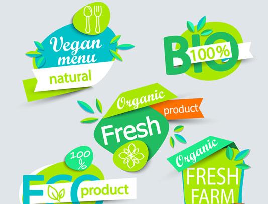 وکتور لیبل های غذایی اورگانیک و طبیعی