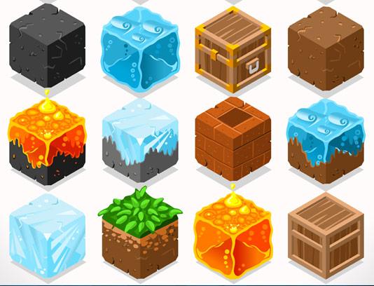 وکتور مکعب های تکسچر سه وجهی بازی سازی