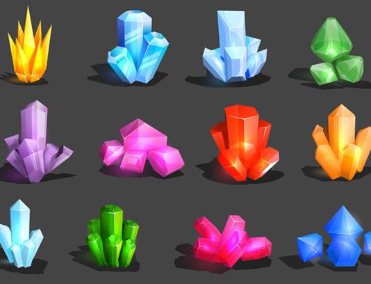 وکتور سنگ های رنگی معدنی مانند الماس، یاقوت