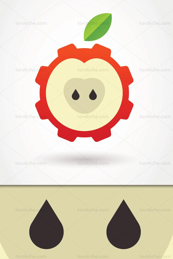 طرح لوگوی کشاورزی صنعتی مفهومی با المان سیب