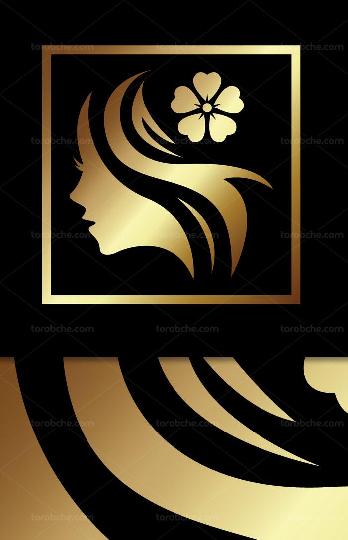 وکتور لوگوی طلایی رنگ سالن زیبایی و آرایشی بانوان