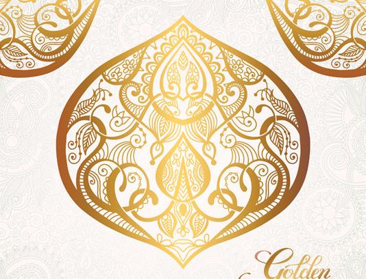وکتور طرح نقش و نگار شرقی طلایی رنگ