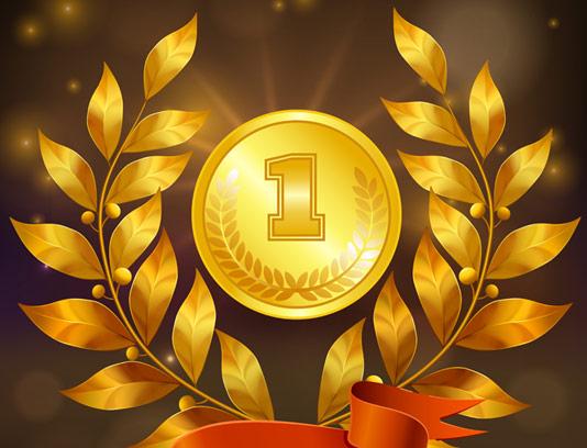 وکتور طرح مدال طلایی جشنواره و مسابقات