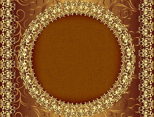 وکتور طرح قاب و حاشیه با نقش و نگار طلایی