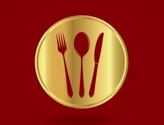 وکتور لوگوی رستوران طلایی با المان قاش و چنگال
