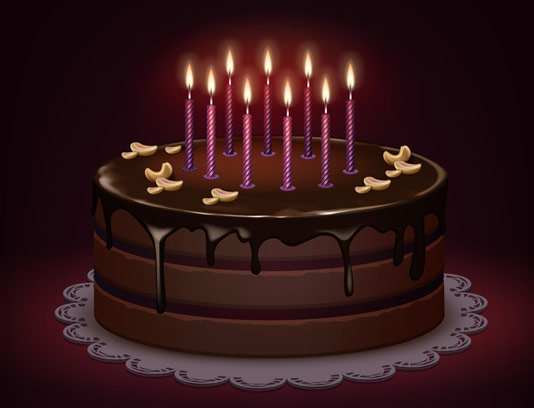 وکتور کیک تولد شکلاتی با شمع های روشن