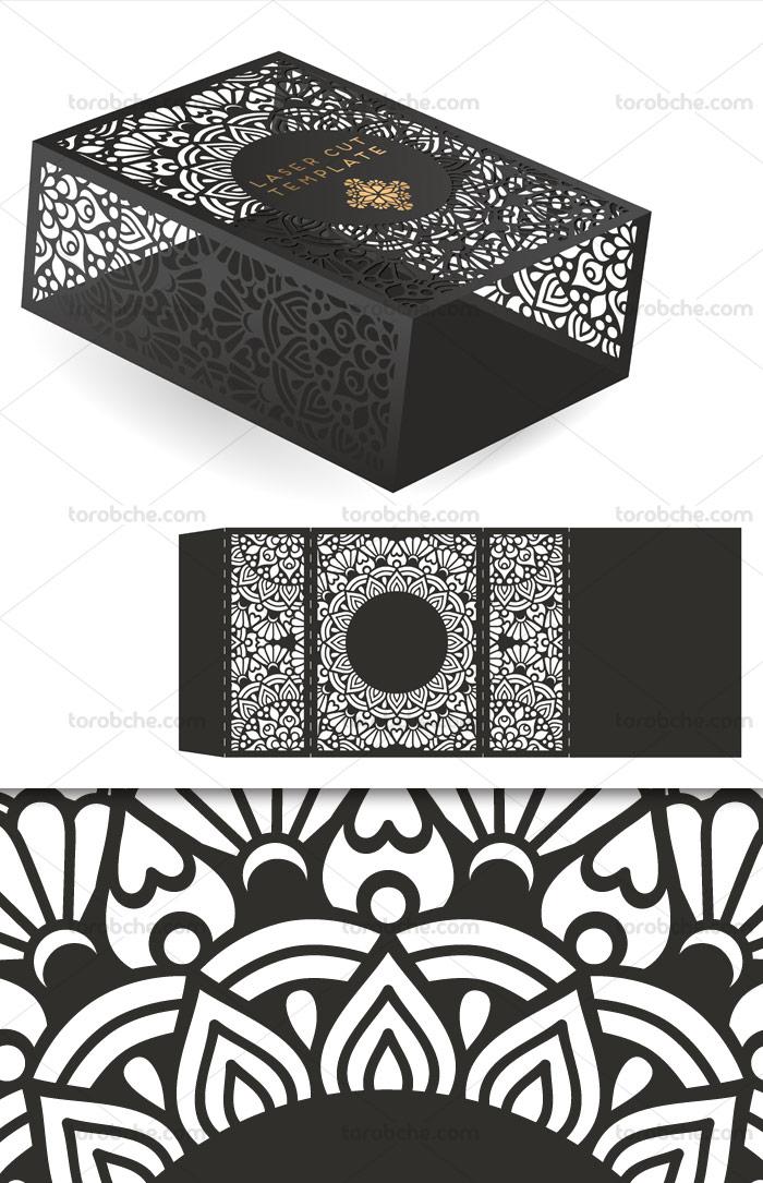 وکتور طرح برش لیزر باکس چوبی با المان های دکوری