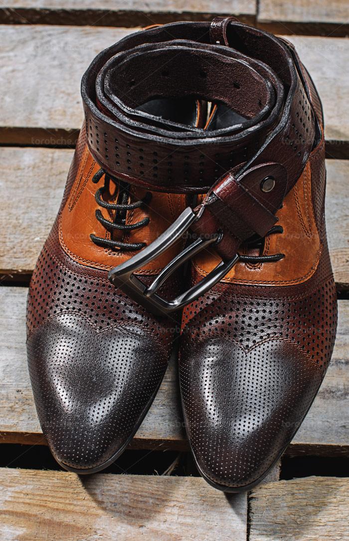 عکس با کیفیت کفش مردانه چرمی قهوه ای