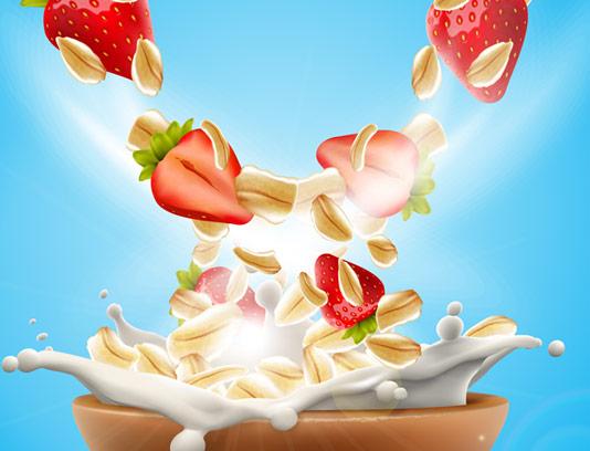 وکتور طرح تبلیغاتی کورن فلکس توت فرنگی با شیر