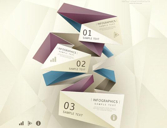 وکتور طرح اینفوگرافیک سه بخشی مدل اوریگامی