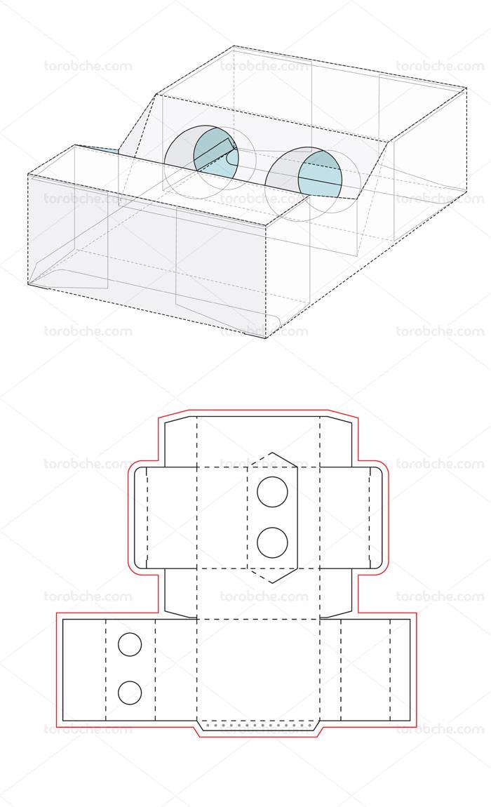 وکتور طرح صفحه گسترده و خط برش بسته بندی