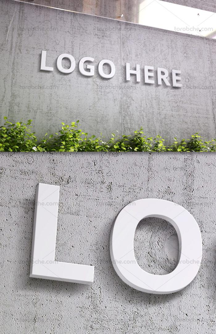 طرح لایه باز موکاپ لوگوی سه بعدی روی دیوار سنگی
