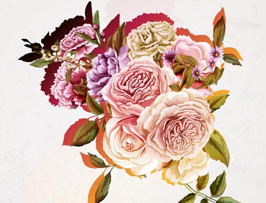 وکتور طرح گل و بته های بسیار زیبا در سه رنگ