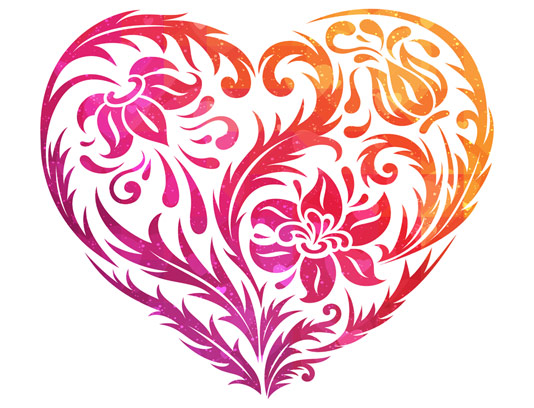 وکتور قلب انتزاعی با طرح گل و بوته