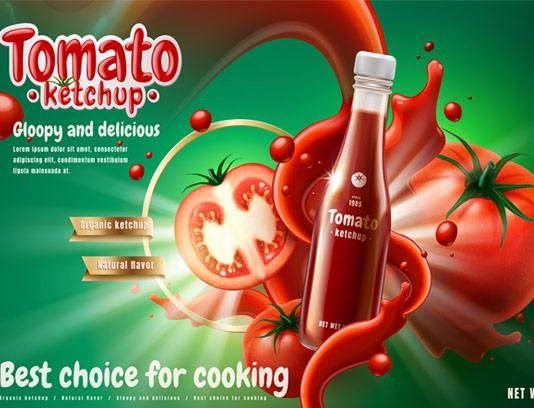 وکتور طرح تبلیغاتی سس گوجه فرنگی
