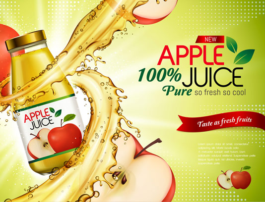 وکتور طرح تبلیغاتی لایه باز آب سیب