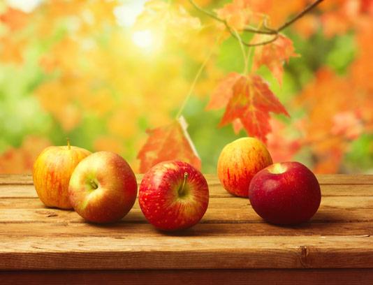 عکس با کیفیت سیب قرمز و بک گراند پاییزی