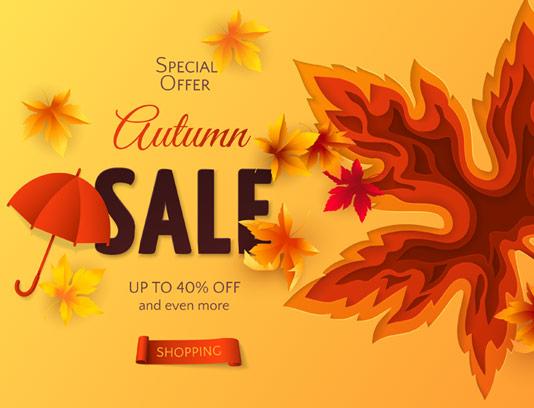 وکتور بنر خلاقانه فروش پاییزی با برگ رنگی