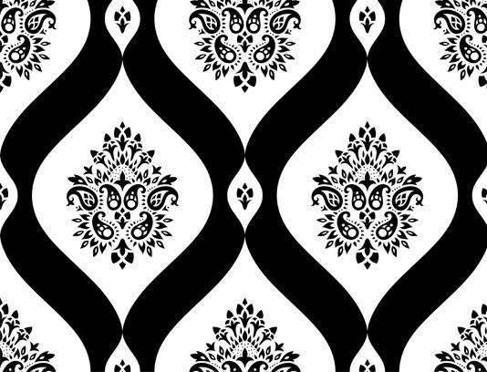 وکتور طرح پترن گل و بوته سیاه و سفید