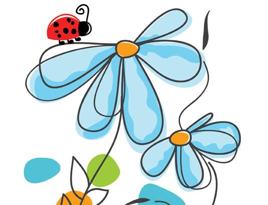 وکتور گل های مینیمال آبی رنگ