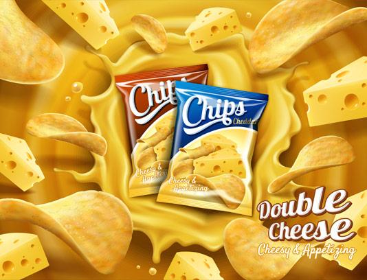 وکتور طرح چیپس با طعم پنیر