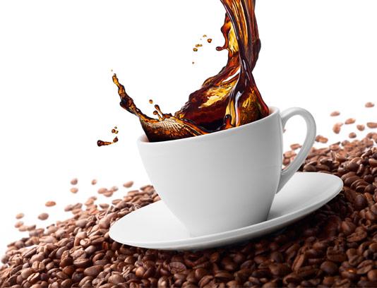 تصویر فنجان قهوه و دانه های قهوه