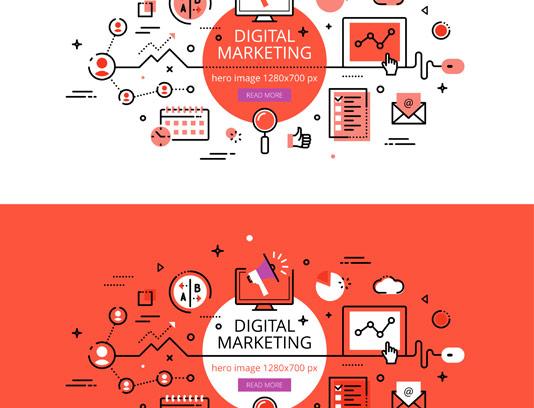 وکتور طرح فلت دیجیتال مارکتینگ