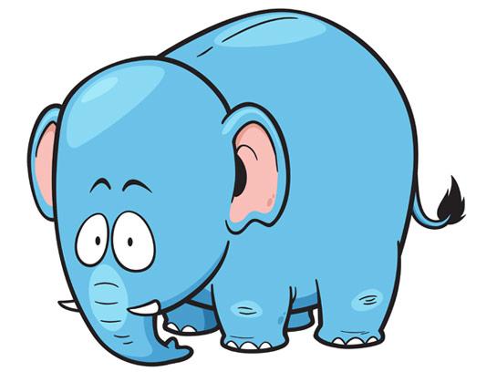 وکتور طرح کاراکتر بامزه فیل