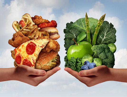 عکس با کیفیت و مفهومی رژیم غذایی سالم و ناسالم