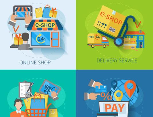 وکتور فلت مفهومی فروشگاه اینترنتی