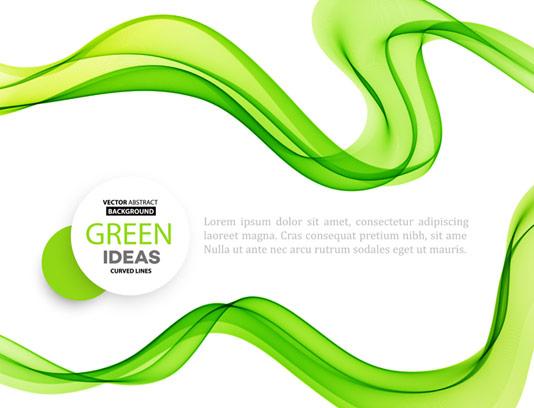 وکتور بک گراند انتزاعی با موج سبز رنگ