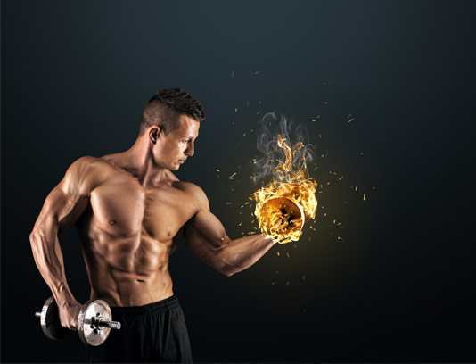 عکس مرد بدنساز در حال دمبل زدن