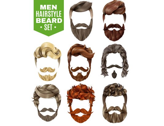 وکتور مدل مو و ریش مردانه