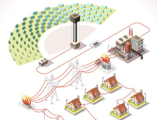 وکتور اینفوگرافیک توزیع برق از نیروگاه