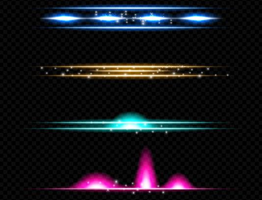 وکتور افکت و پرتوهای نوری در چهار رنگ