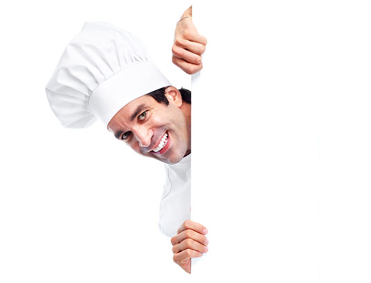 عکس با کیفیت سر آشپز مرد با کلاه سفید